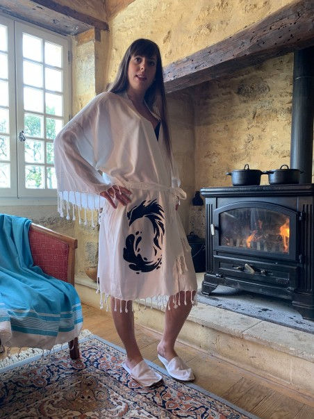 Peignoir en coton naturel Feu d'Orient