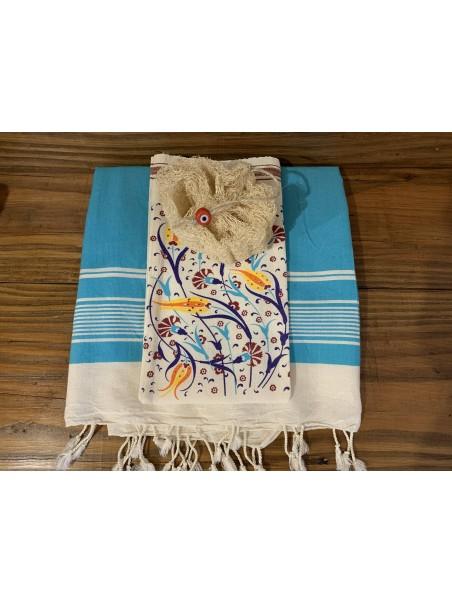 Coffret Fouta turquoise + gant de gommage + loofah