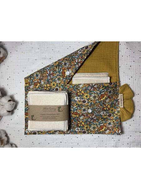 Pochette fleurie + 7 lingettes 10x10cm